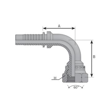 Женски накрайник DKM с метрична резба, външен конус 60°, коляно 90°