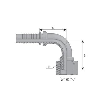 Женски накрайник DKOR 90 с цолова резба BSP, о-пръстен, външен конус 60°, коляно 90°