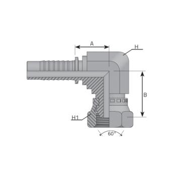 Женски накрайник DKR 90 compact с цолова резба BSP, външен конус 60°, коляно 90° компактно