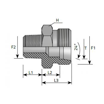 Нипел краен, NPT към метрична резба DIN 2353 - конус 24°