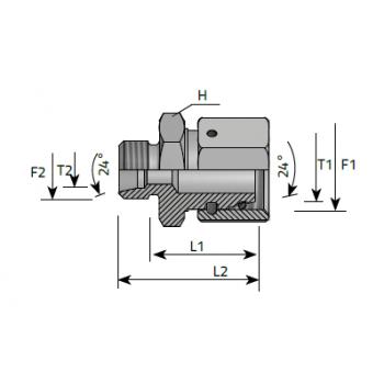 Нипел междинен ориентируем намалител, метрична резба DIN 2353 - конус 24°