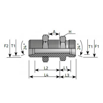 Нипел преграда с контра гайка, метрична резба DIN 2353 - конус 24°