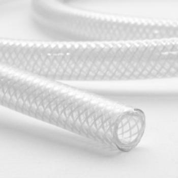 Бял силиконов маркуч с оплетка
