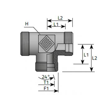 Тройник, мъжки метрични резби DIN 2353 - конус 24°